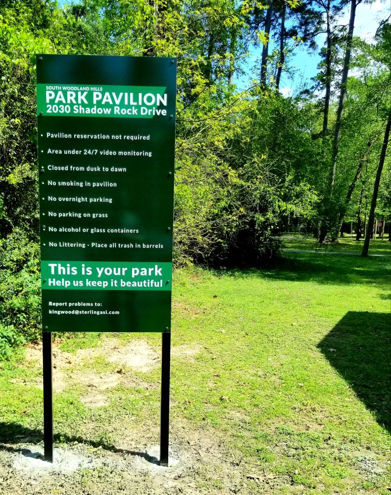 South Woodland Hills Park Pavilion Rules Sign